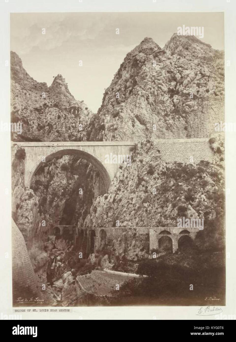 Pont Saint-Louis de Menton par Édouard Baldus - Stock Image
