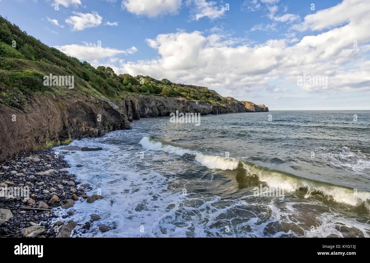 A wave cascades onto the shore near a headland. - Stock Image