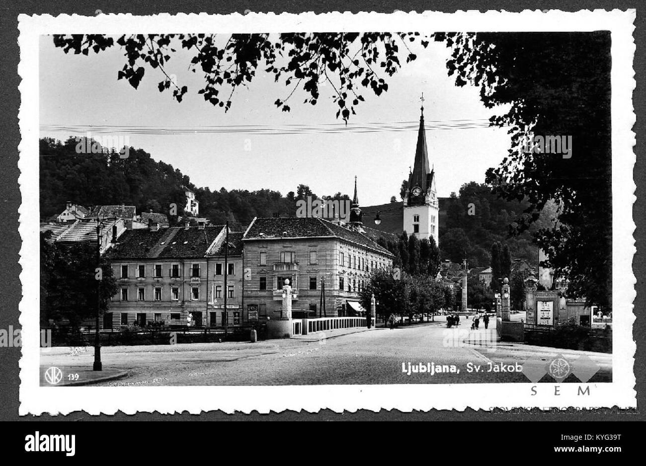 Postcard of Ljubljana, Karlovška street - Stock Image
