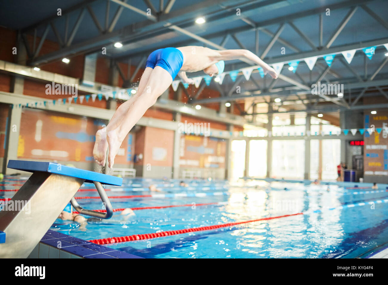 Indoor swimming pool with diving board stock photos - Swimming pool diving board regulations ...
