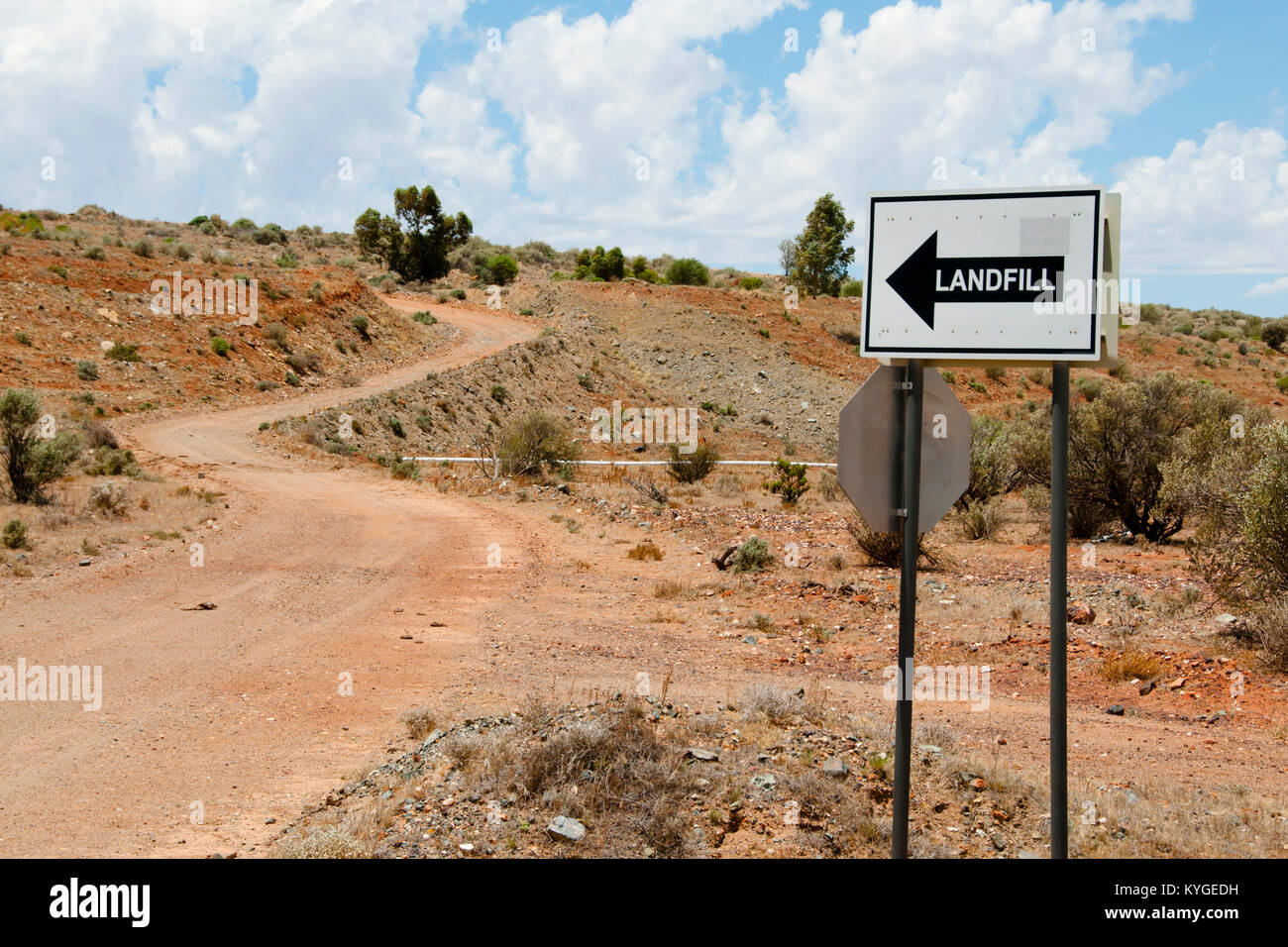Landfill Road Sign - Stock Image