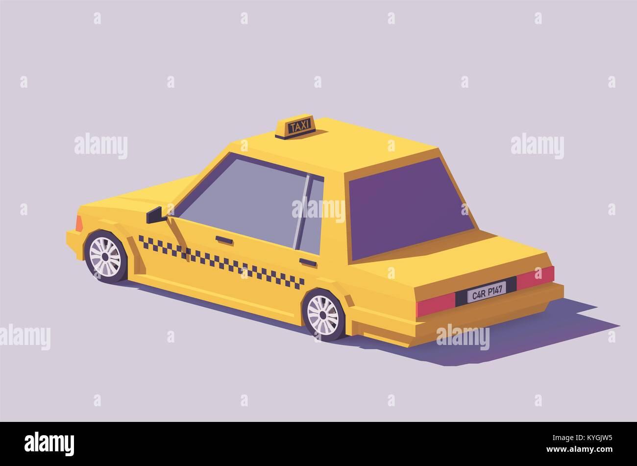 Vector low poly yellow taxi car - Stock Vector