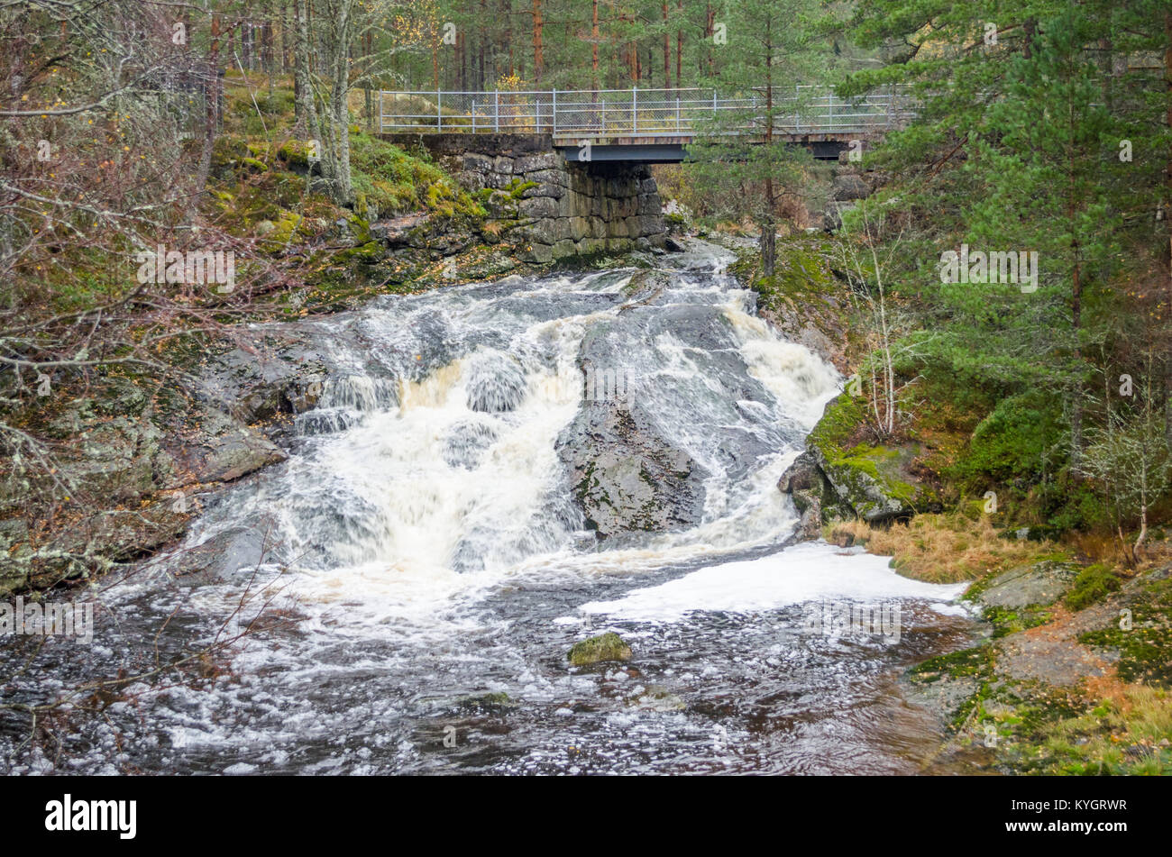 Evje Mineralsti- retired gemstone mine and local tourist attraction. Small waterfall close to road from Evje to - Stock Image