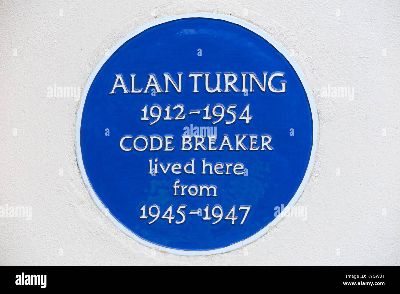 Blue plaque on former home of / house once lived in by Alan Turing, the famous mathematician & enigma code breaker. - Stock Image