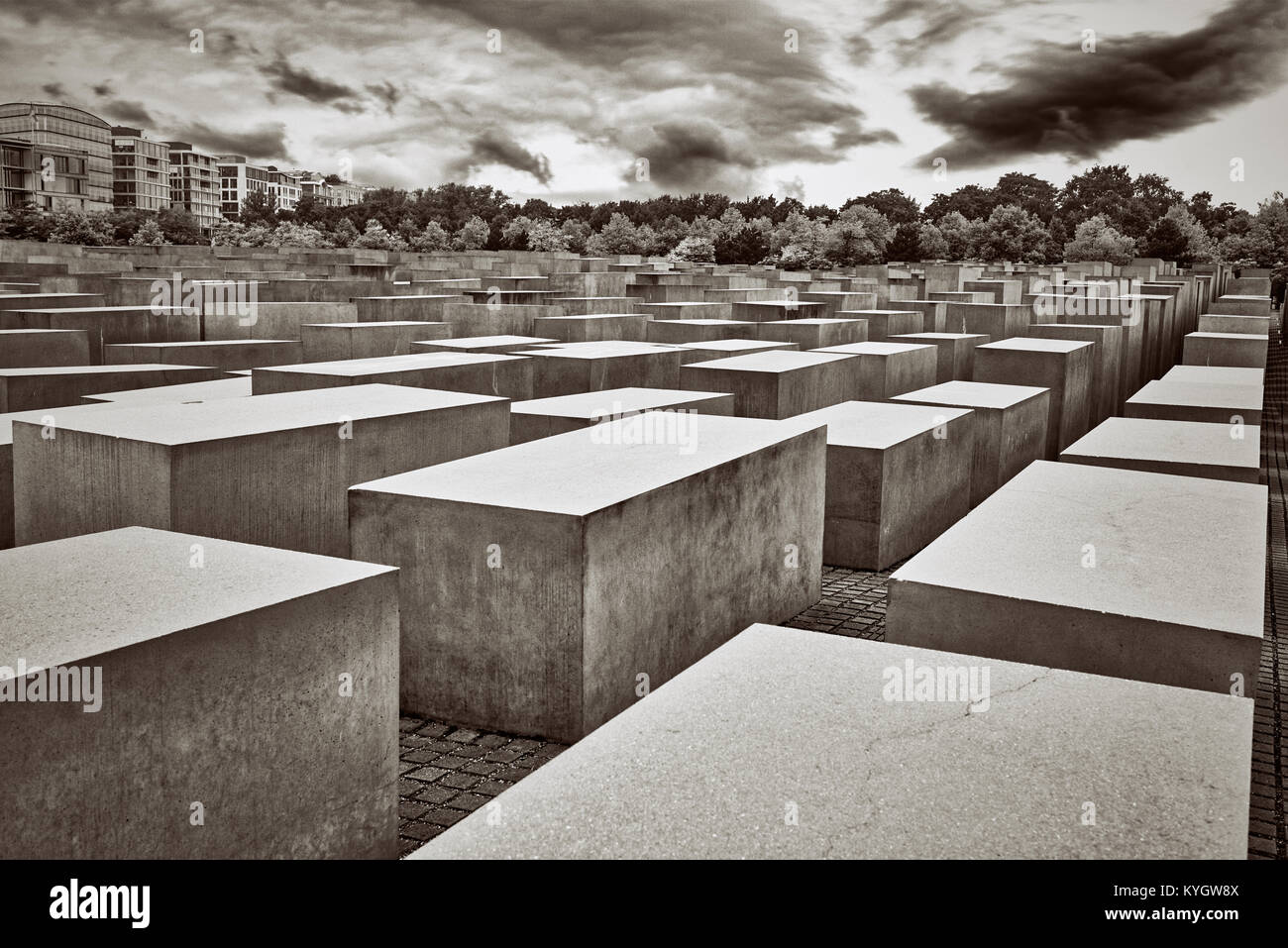 Berlin, Memorial to the Murdered Jews of Europe,suggestive winter atmosphere - Stock Image