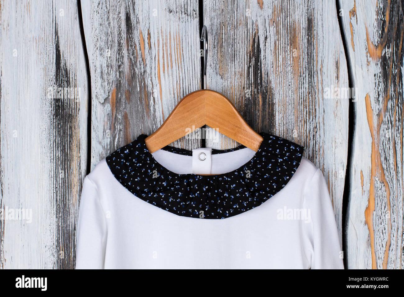 White top with round neckline - Stock Image