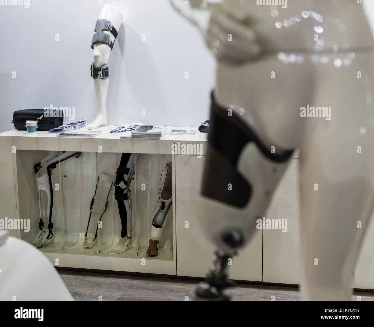 Lucerne, Switzerland - 2 Dec 2017: A variety of leg braces and prostheses shown at an exhibition booth during Swiss - Stock Image