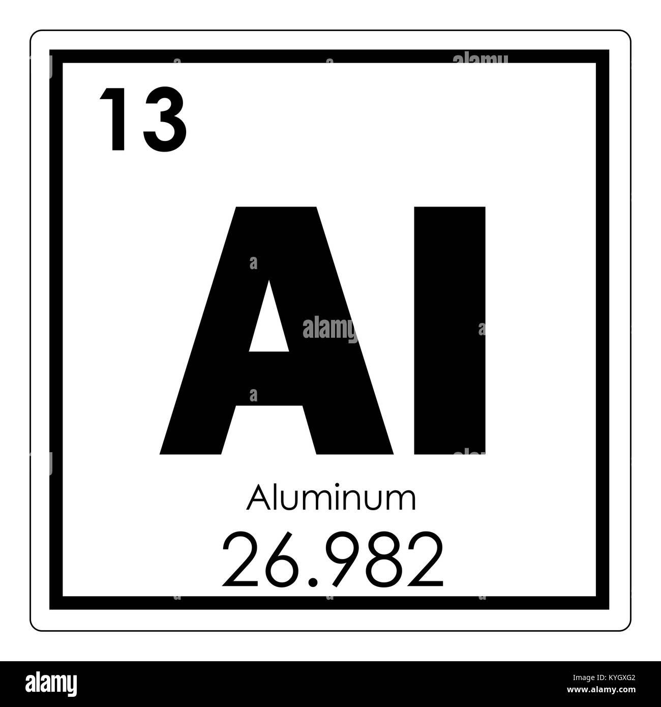 Aluminum Chemical Element Periodic Table Science Symbol Stock Photo