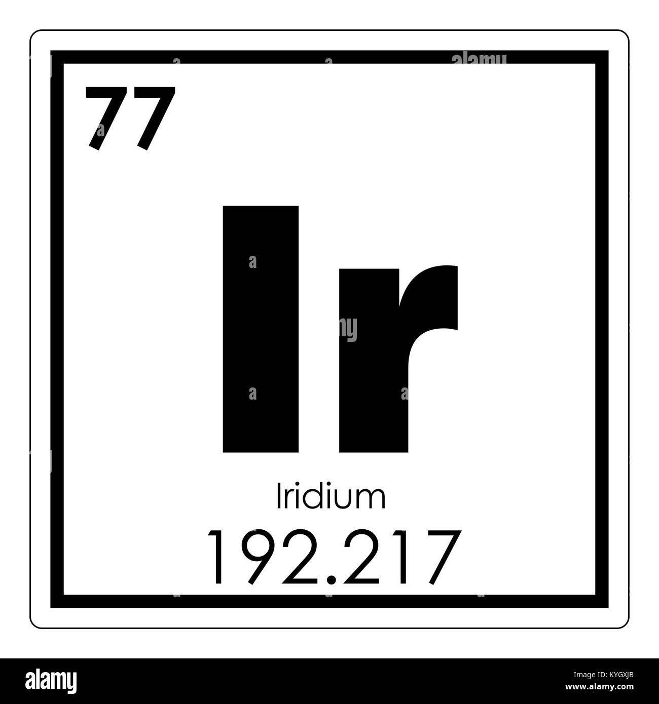 Iridium chemical element periodic table science symbol Stock Photo