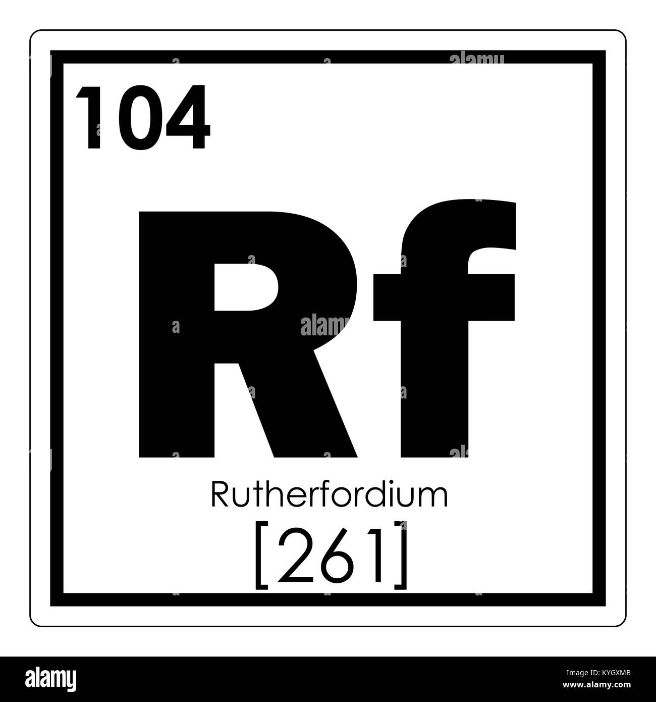 Rutherfordium chemical element periodic table science symbol Stock Photo