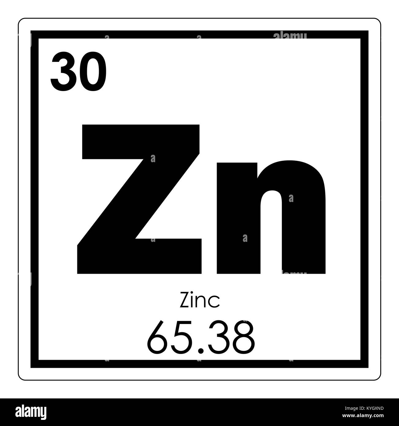 Zinc chemical element stock photos zinc chemical element stock zinc chemical element periodic table science symbol stock image urtaz Choice Image