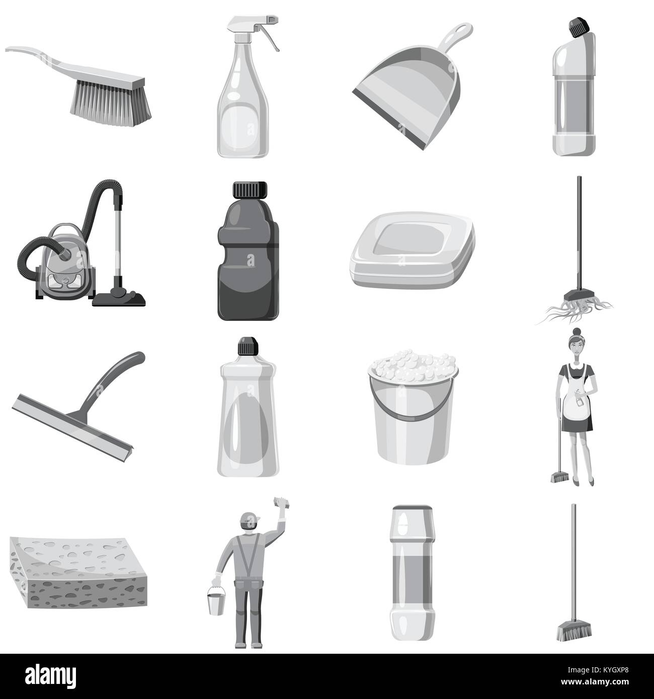 Cleaning icons set monochrome - Stock Vector