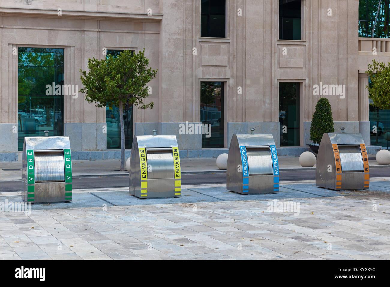 Trash bins in Spain. - Stock Image