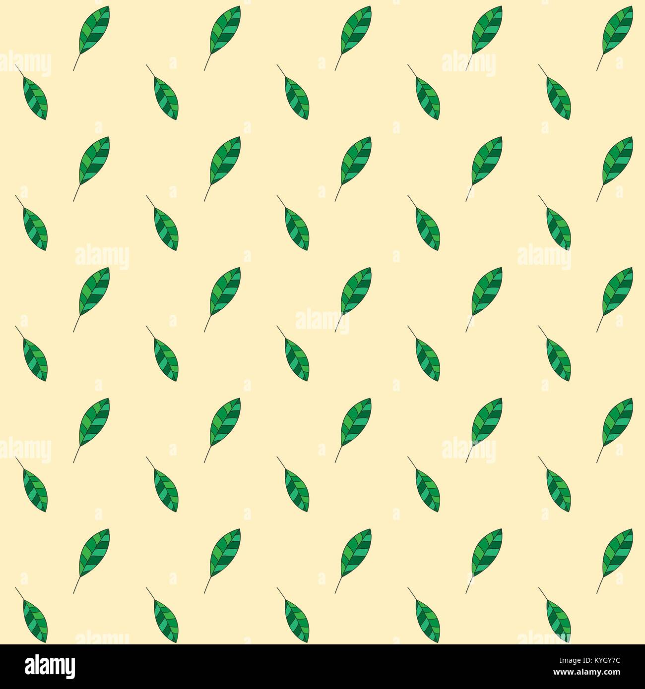 Seamless leaf pattern on yellow background. Green Leaf vector pattern. Floral pattern vector background. Fallen Stock Vector