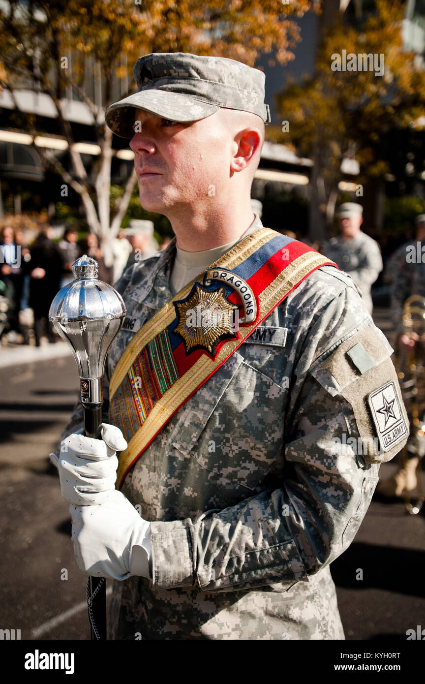 A parade marshal assigned to the 113th Army Band stands ready to march down Main Street in Louisville, Ky., on Nov. Stock Photo