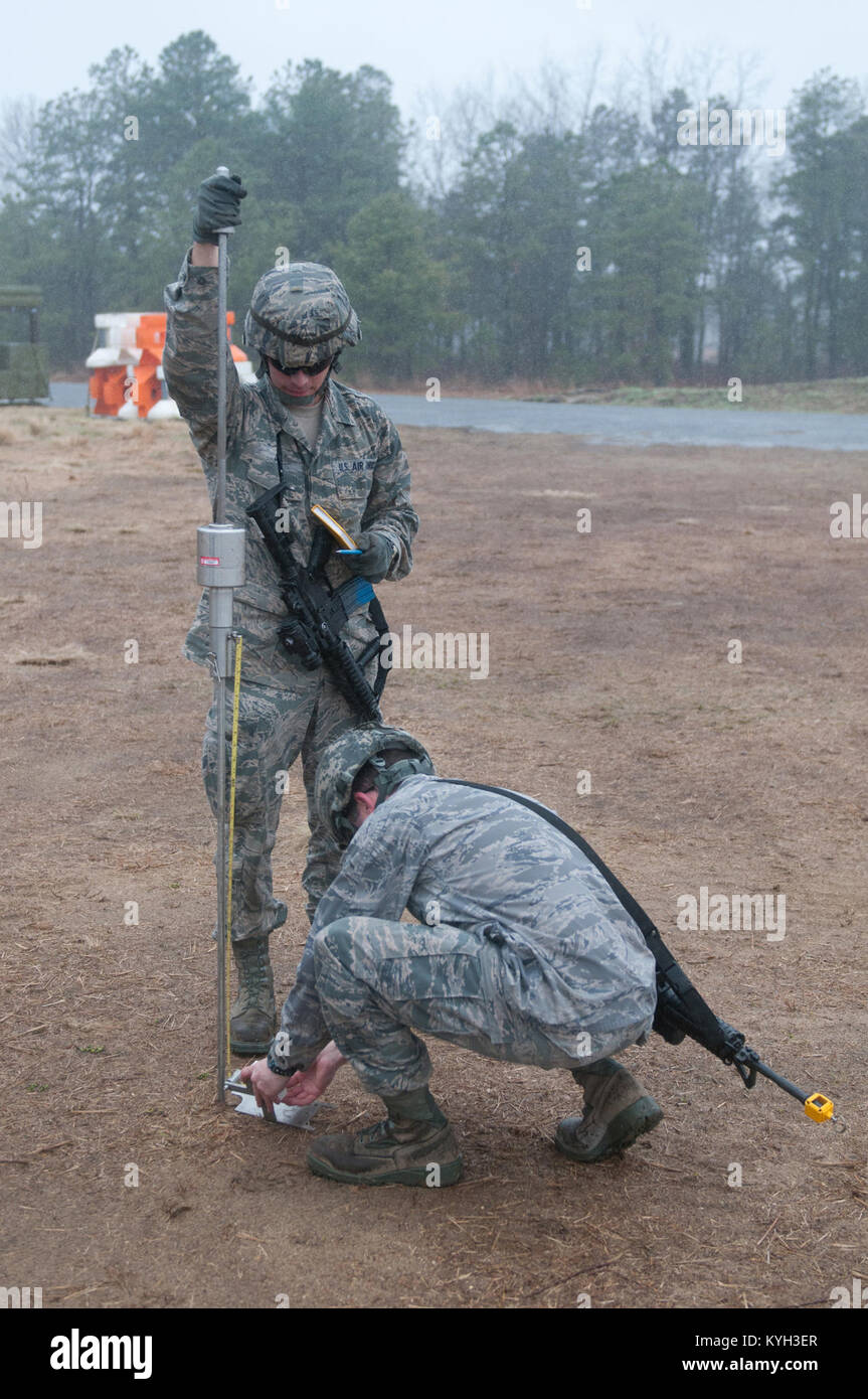Civil engineers from a Joint Assessment Team test the ground strength at Lakehurst Naval Air Engineering Station, Stock Photo