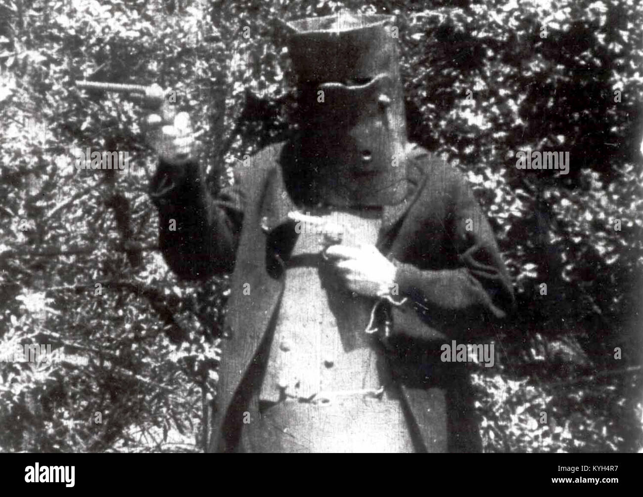 Depiction of Edward 'Ned' Kelly by an actor playing Ned Kelly in The Story of the Kelly Gang feature film - Stock Image