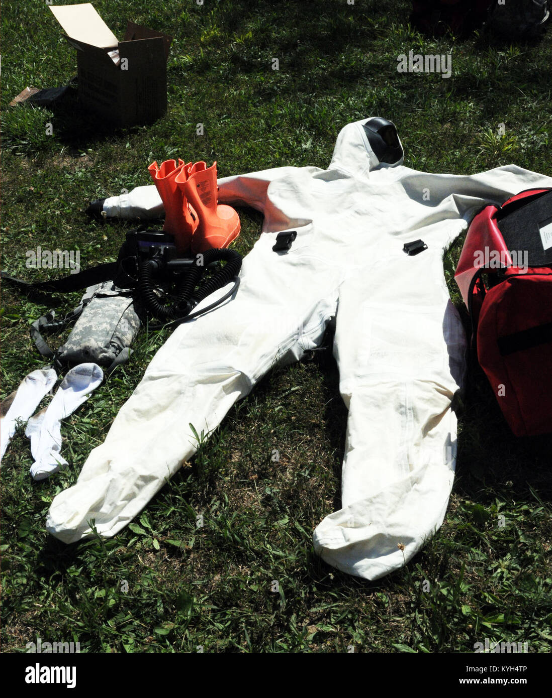 Search and extraction chemical suits and respiratory equipment are laid out to dry at Muscatatuck Urban Training - Stock Image