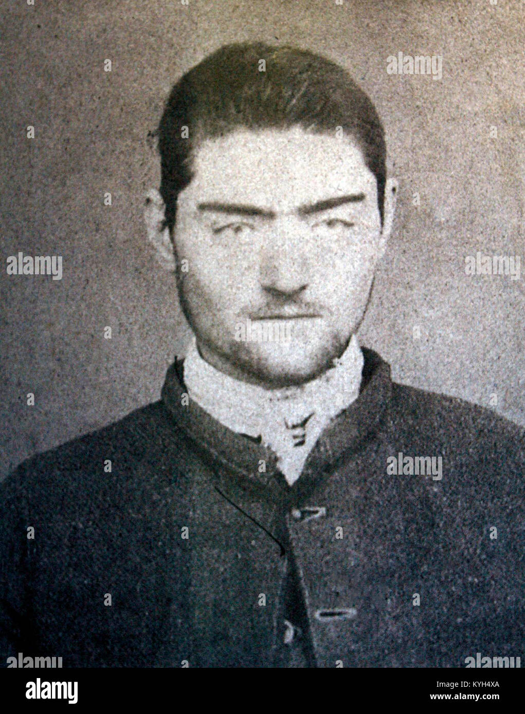 Ned Kelly, outlaw Ned Kelly, Mugshot of Ned Kelly taken at Pentridge after his transfer from the Beechworth Gaol - Stock Image