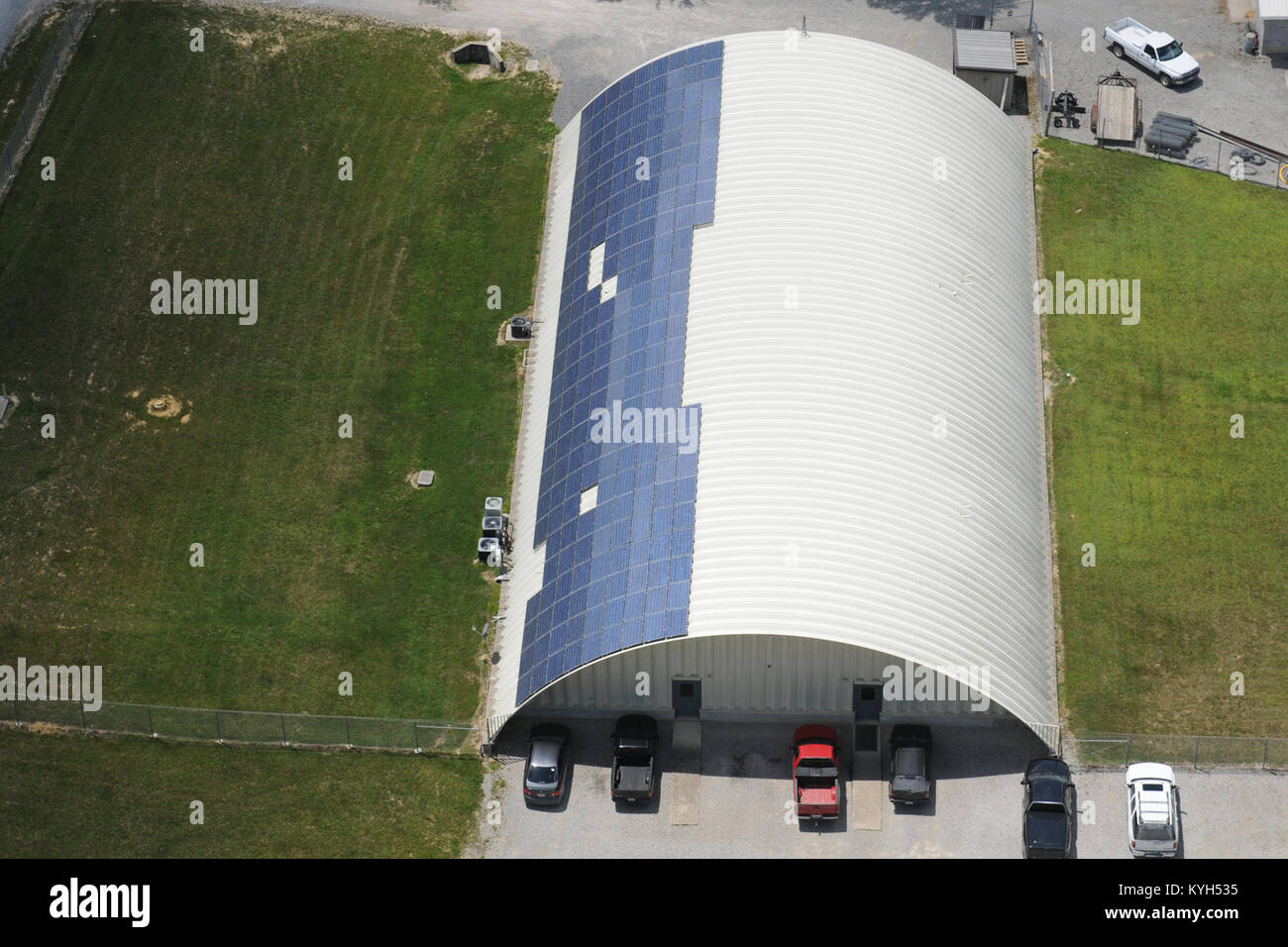 Aerial view of solar panels installed on the buildings of