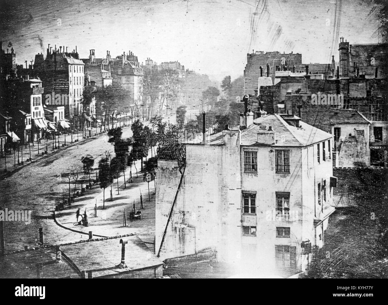 'Boulevard du Temple', taken by Daguerre in 1838 in Paris, includes the earliest known candid photograph - Stock Image