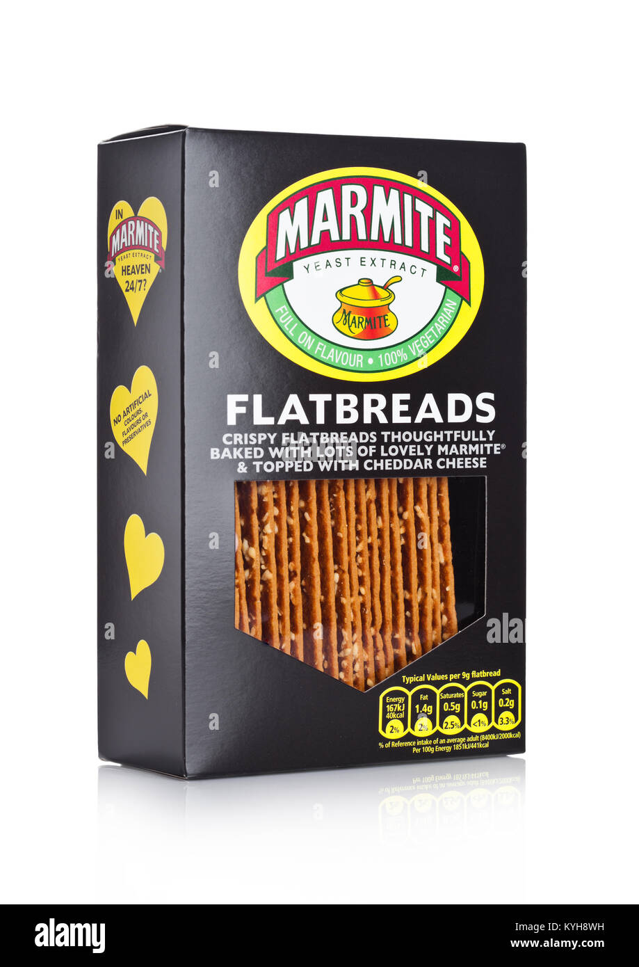 LONDON, UK - JANUARY 10, 2018: Box of flatbreads Marmite yeast extract on white background. The product is made - Stock Image