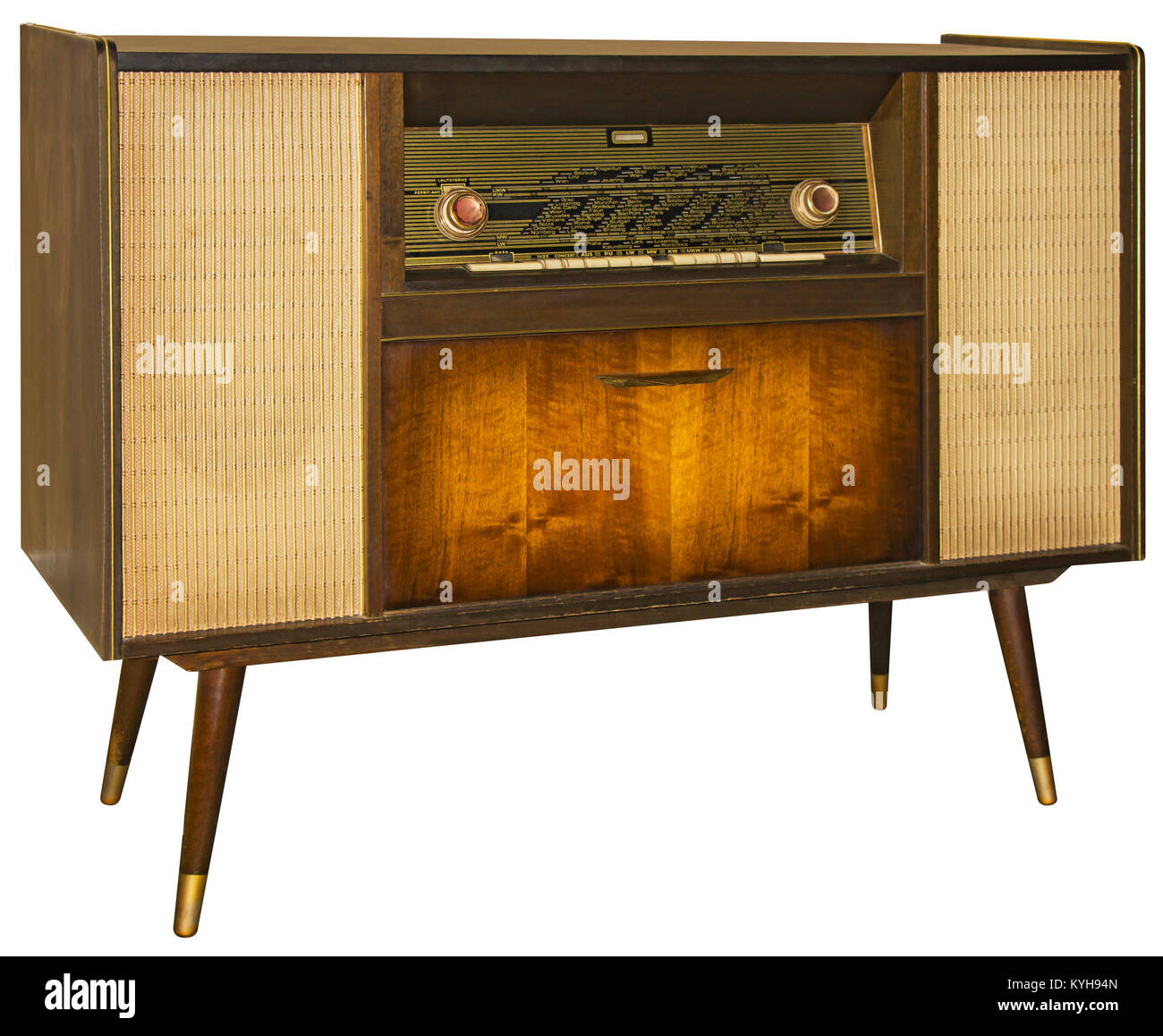 Vintage Wooden Radio Apparatus Isolated with Clipping Path - Stock Image