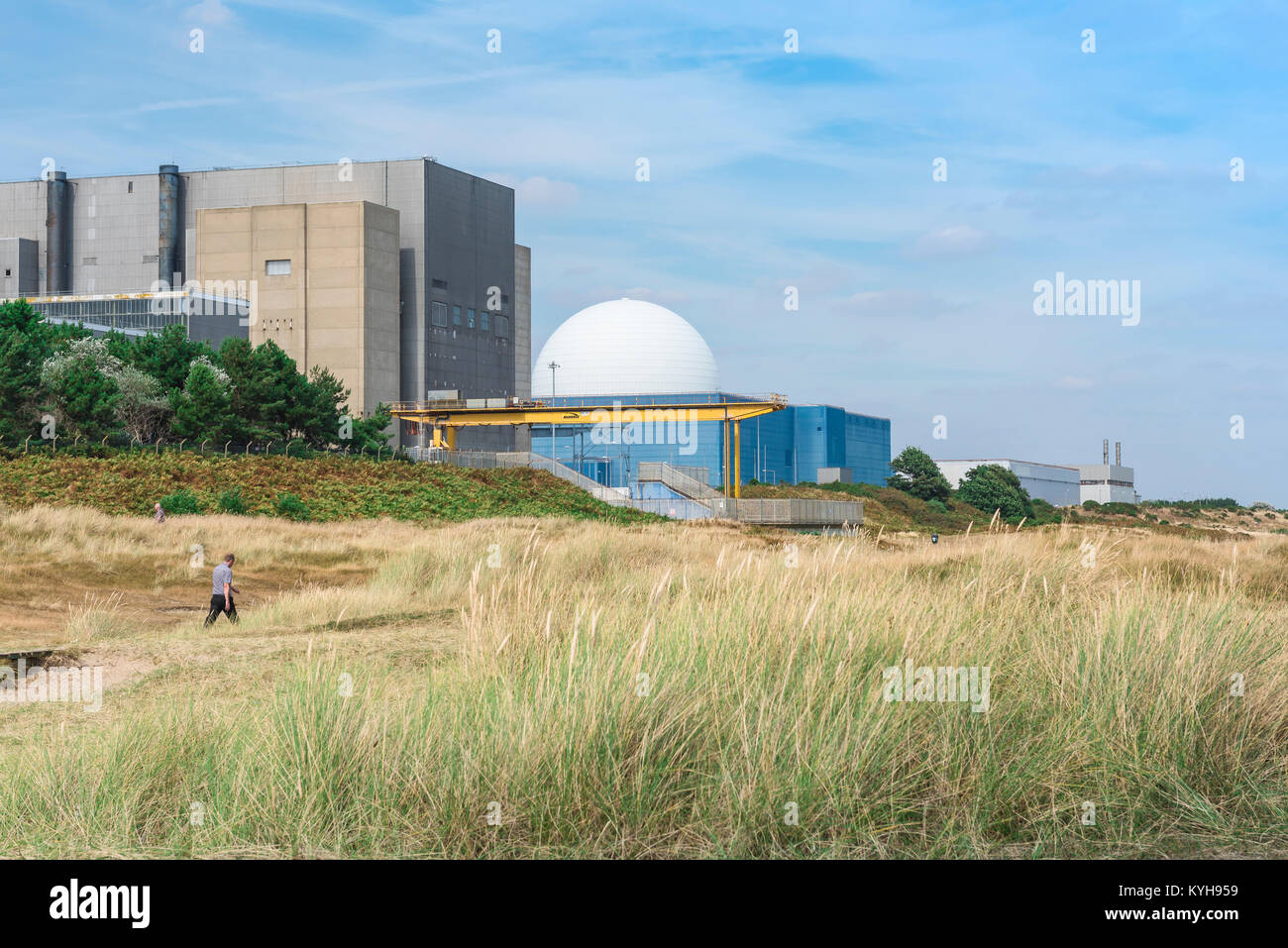 Sizewell B Suffolk, a man walks through sand dunes near the Sizewell nuclear power station on the Suffolk coast, - Stock Image