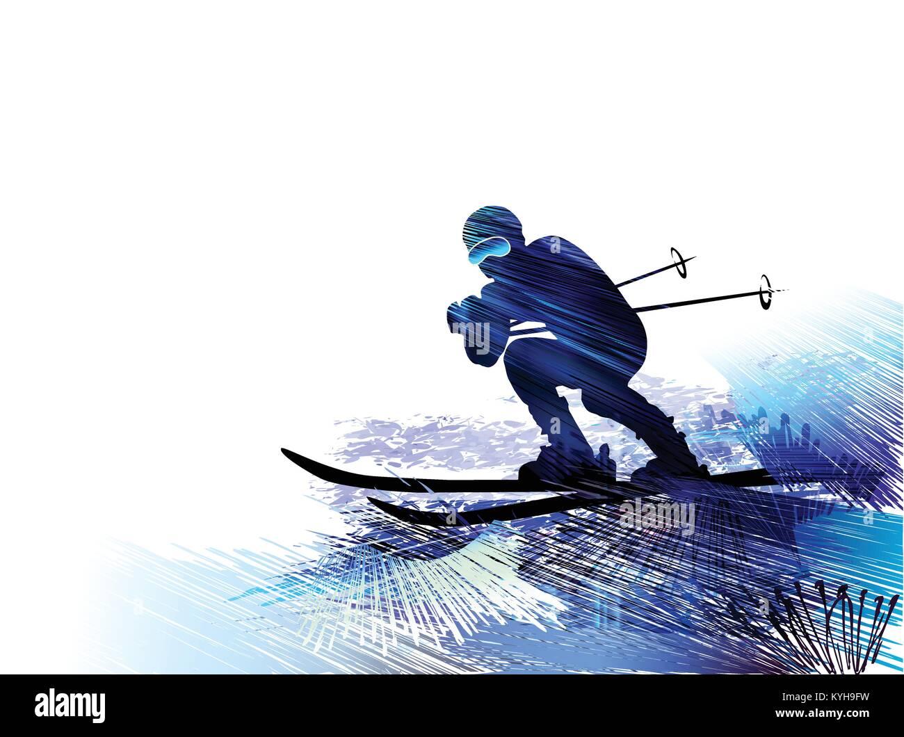 Skier. Vector illustration - Stock Vector