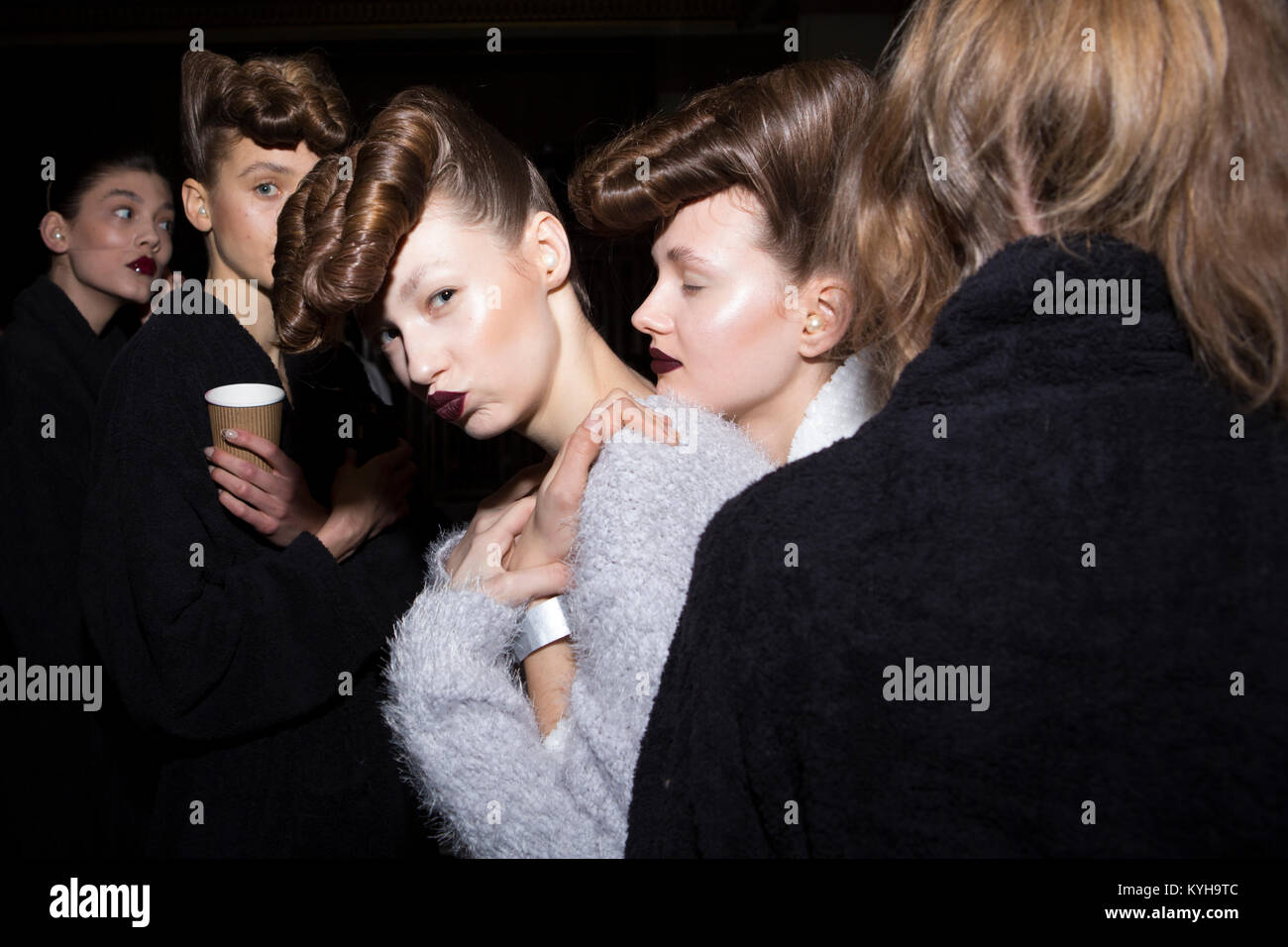 London, UK, 20 February 2016, Models backstage at the Gareth Pugh show for AW/16 collection at London Fashion Week - Stock Image