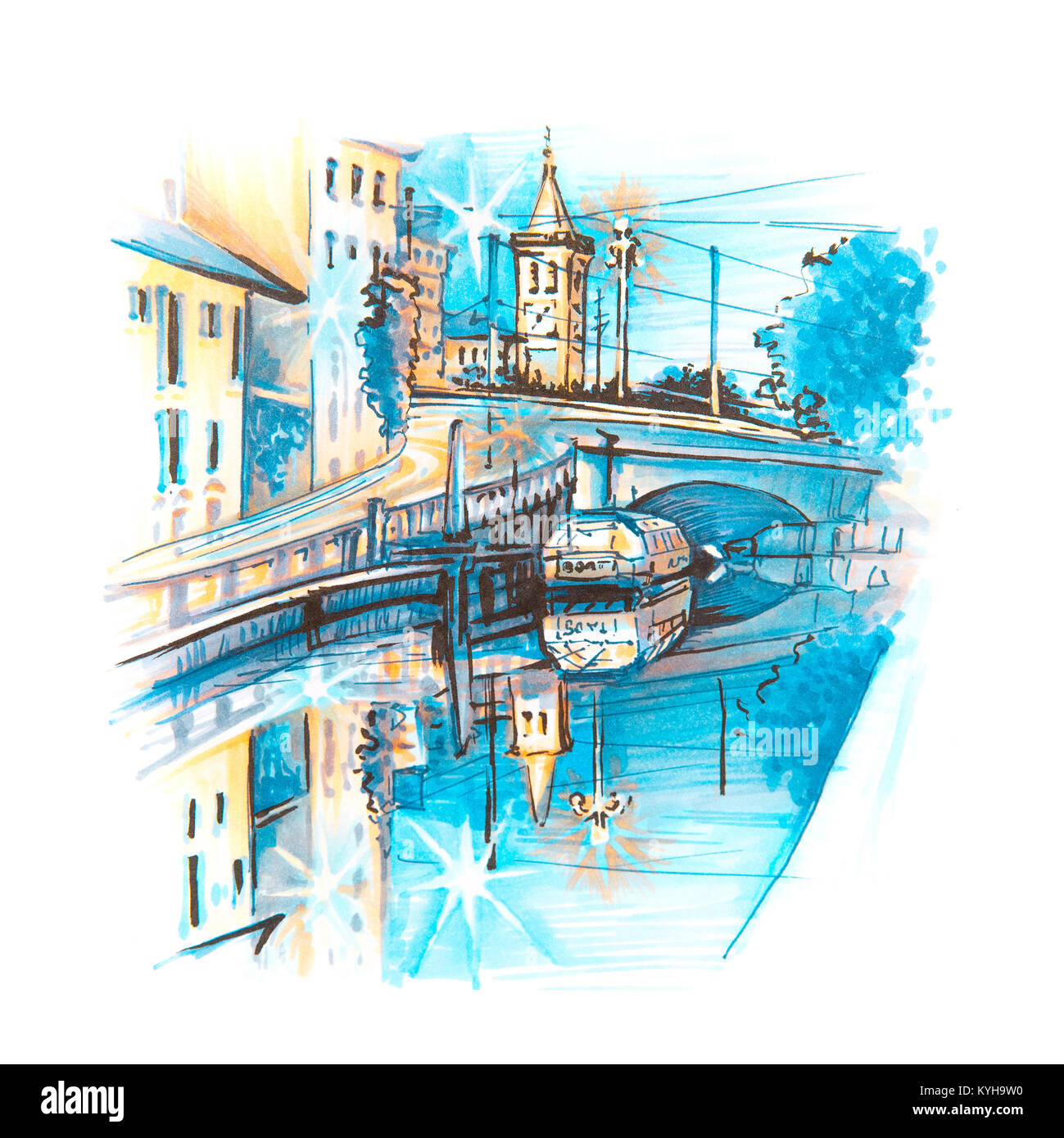 Naviglio Grande canal in Milan, Lombardia, Italy - Stock Image