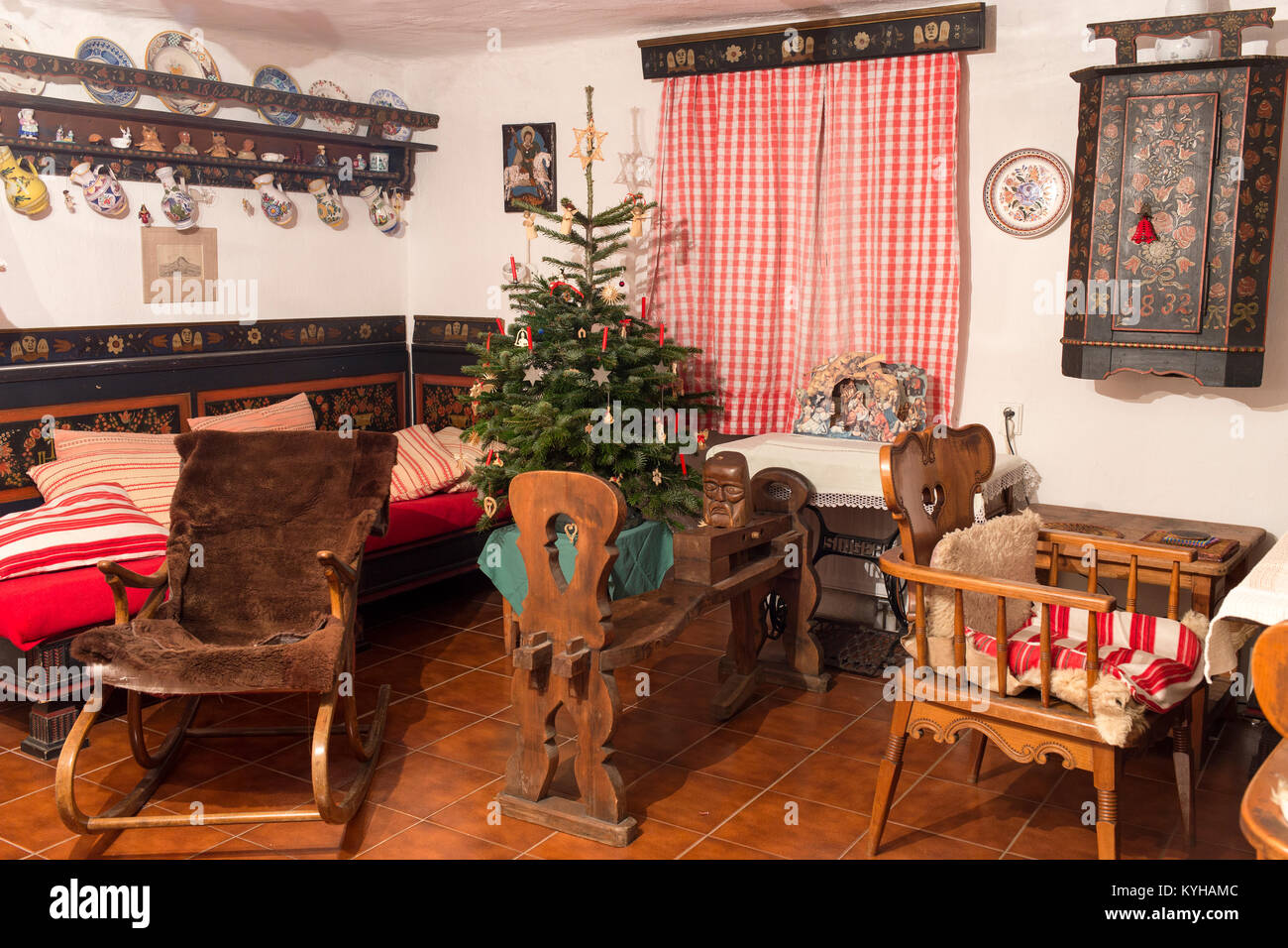 Decorated Christmas Tree Inside A Rural House In The South Bohemian Folk Or Baroque Style Nahorany Village Bohemia Czech Rep