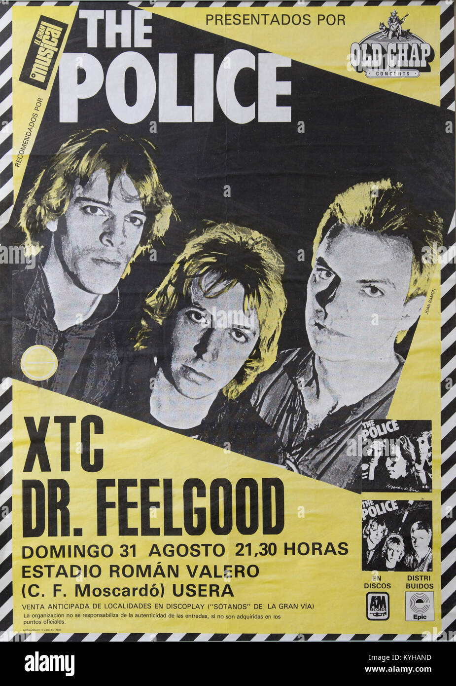 The Police, Sting, Stewart Copeland and Andy Summers,  Musical concert poster. Life event in Madrid - Stock Image