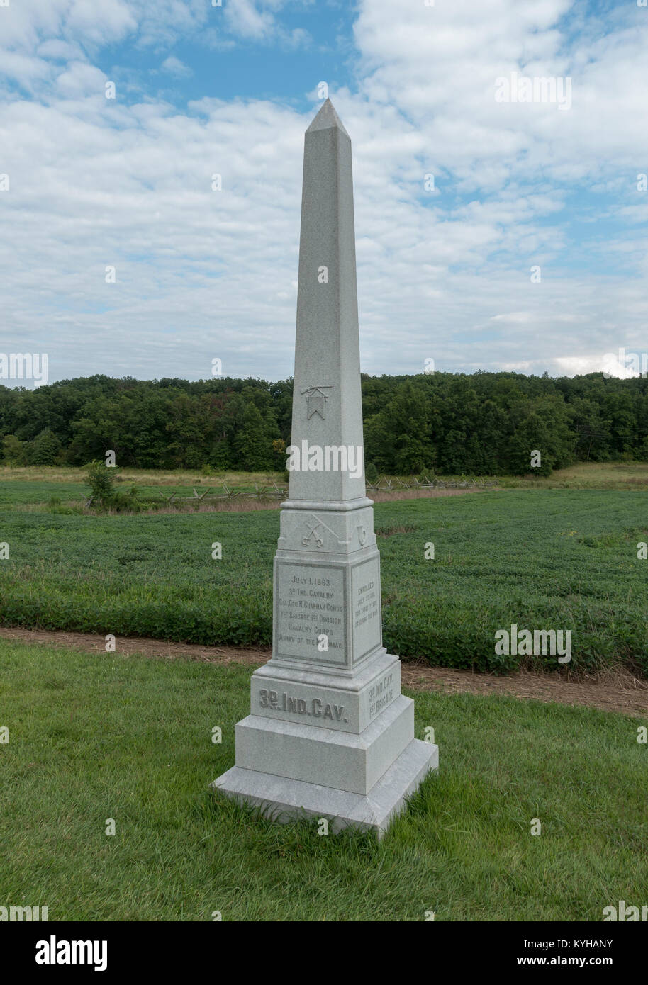 The 3rd Indiana Cavalry Monument, Gettysburg National Military Park, Pennsylvania, United States. - Stock Image