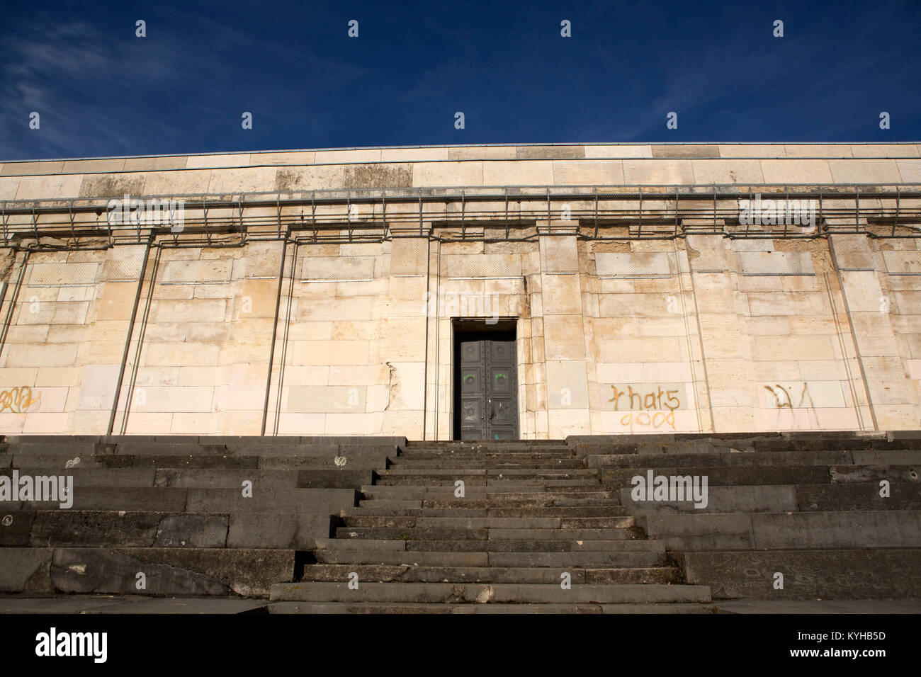 Remnants of the Fuehrer's Rostrum at the Zeppelin Field in Nurermberg, Germany. - Stock Image