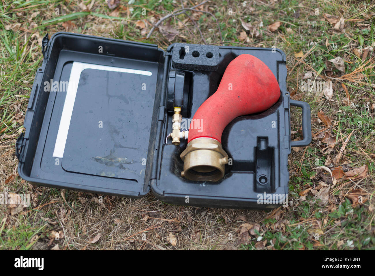 Hydrant attachment with sensor for flushing mains - Stock Image