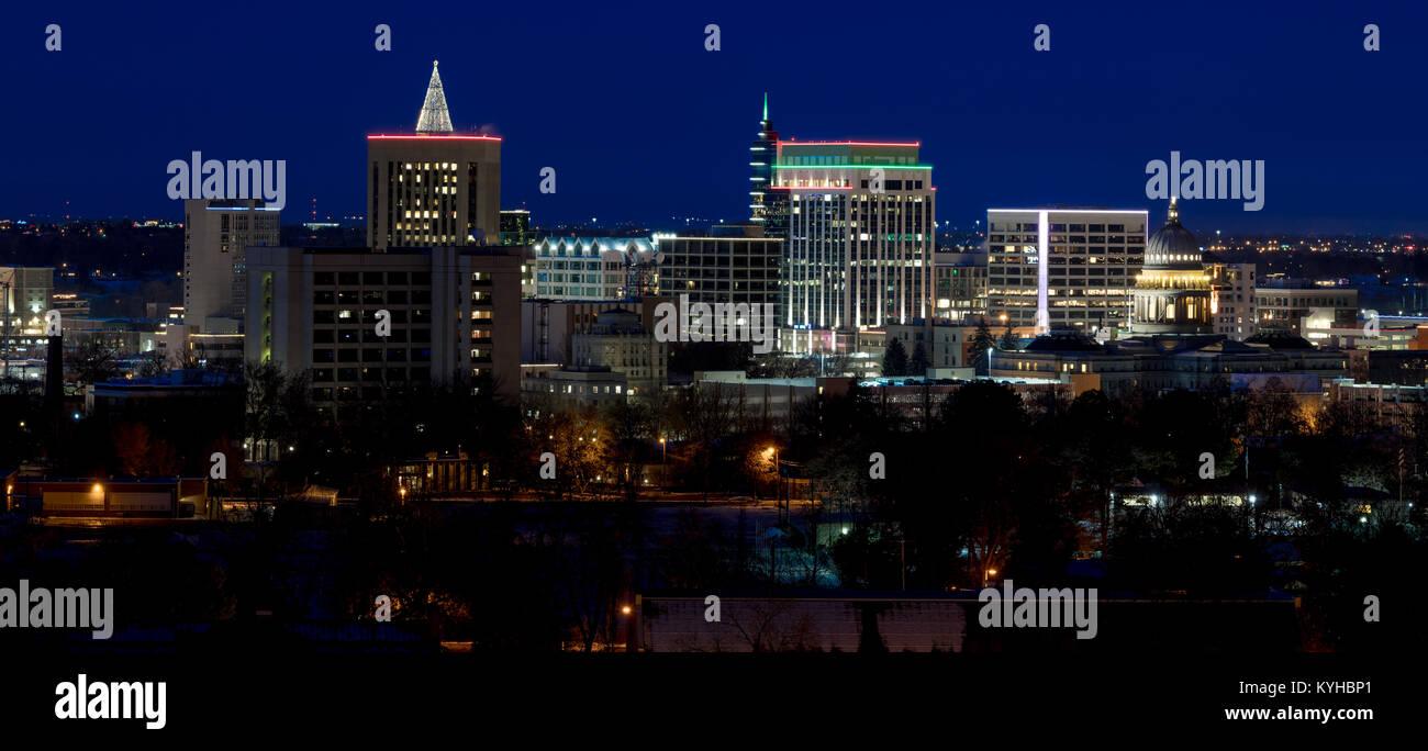 Christmas Lights Boise.Skyline At Night Of The City Of Boise Idaho With Christmas