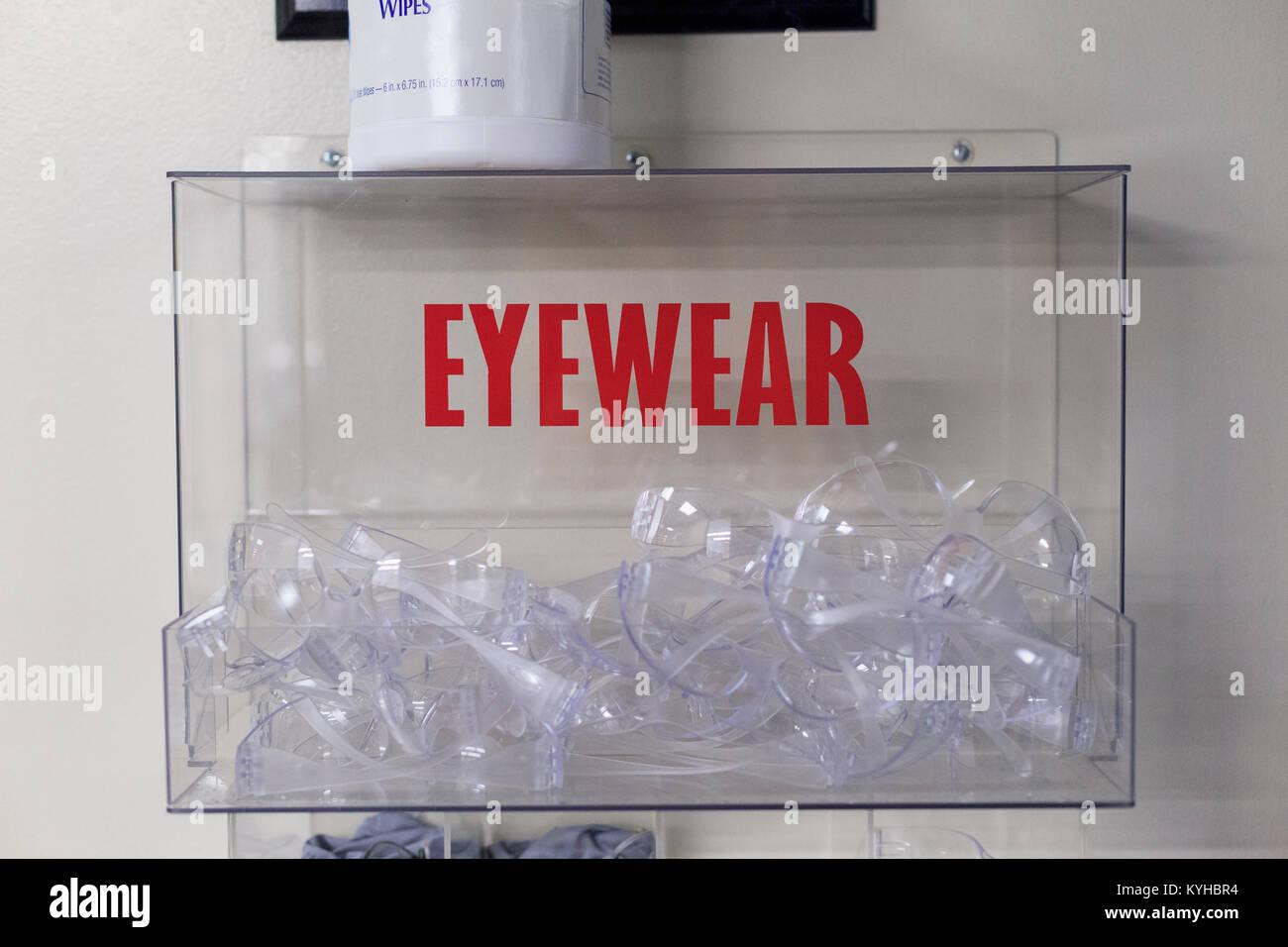 Protective eyewear in case - Stock Image