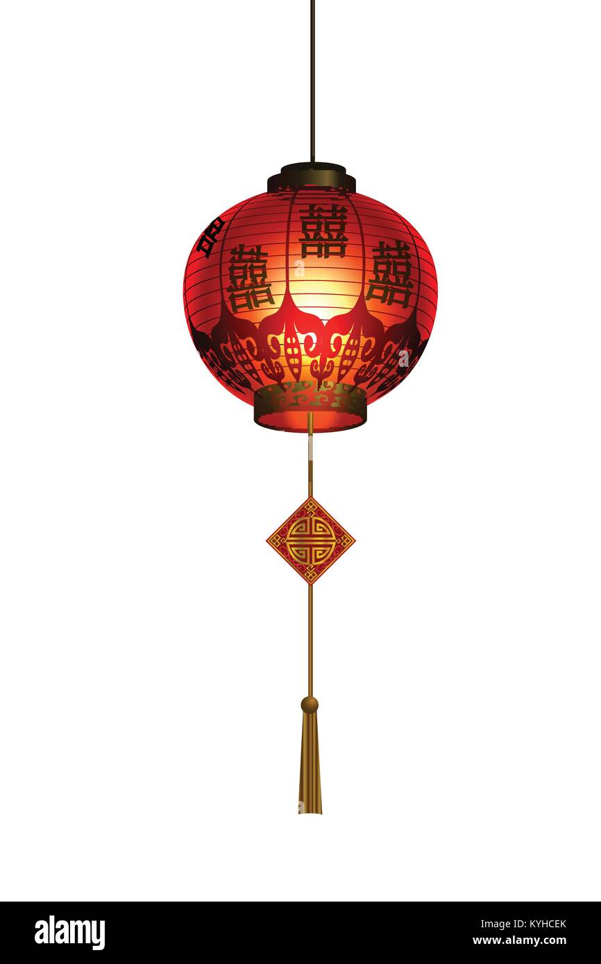 Red Chinese traditional paper lantern Stock Vector