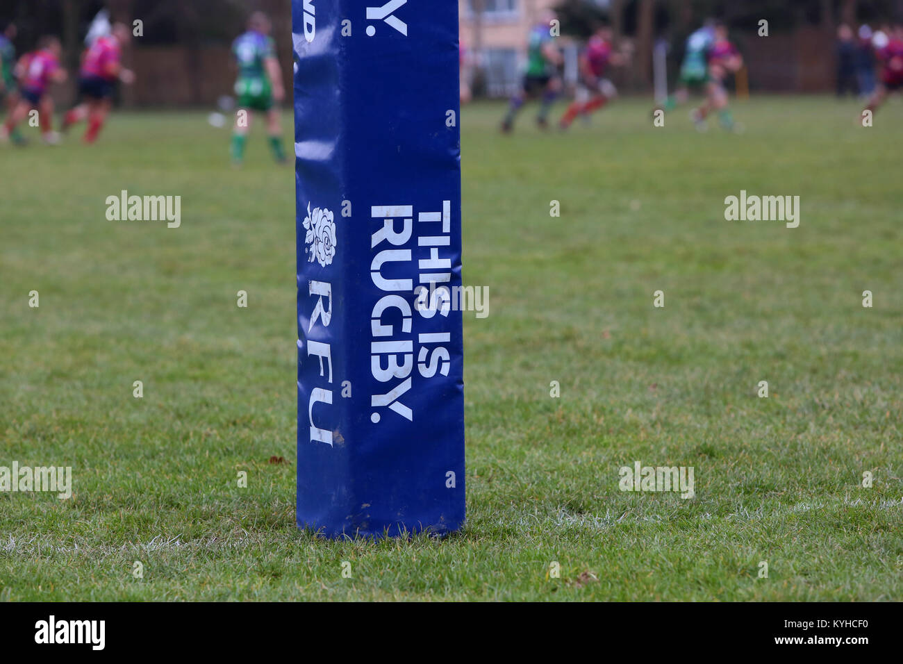 An RFU, (Rugby Football Union) 'This is Rugby' official Rugby post protector pictured during a rugby match - Stock Image