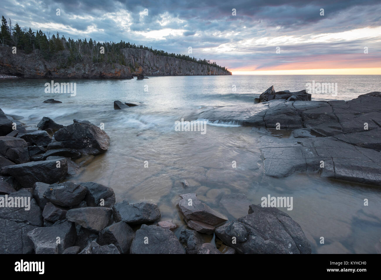 Lake Superior, Shovel Point,Tettegouche State Park, MN, USA, by Dominique Braud/Dembinsky Photo Assoc - Stock Image