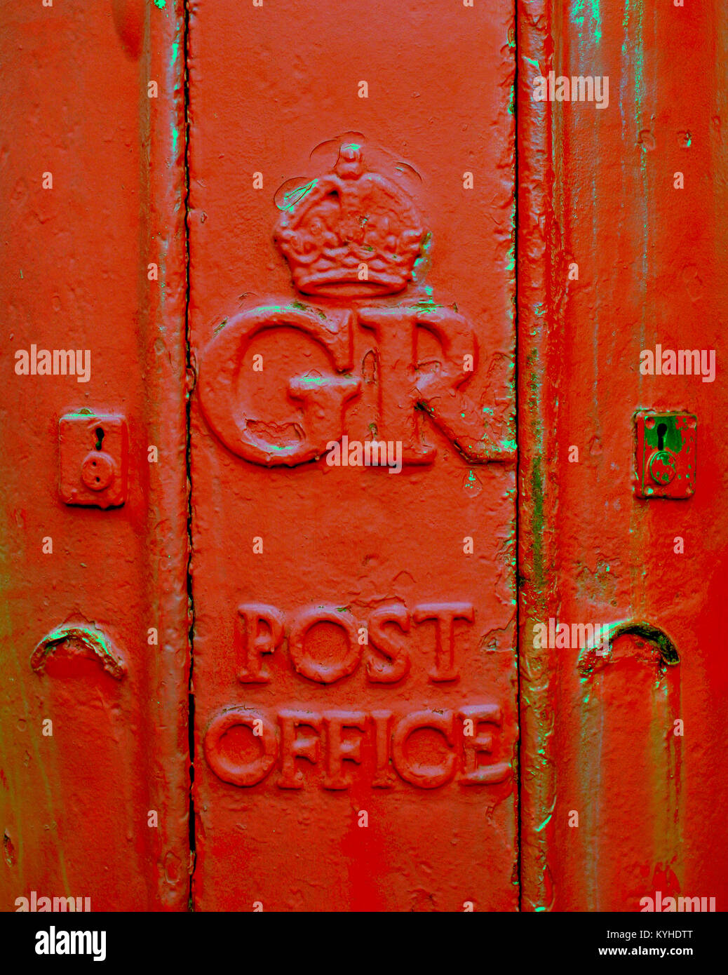royal mail red postbox cast iron post office close up gr george Rothesay, United Kingdom - Stock Image