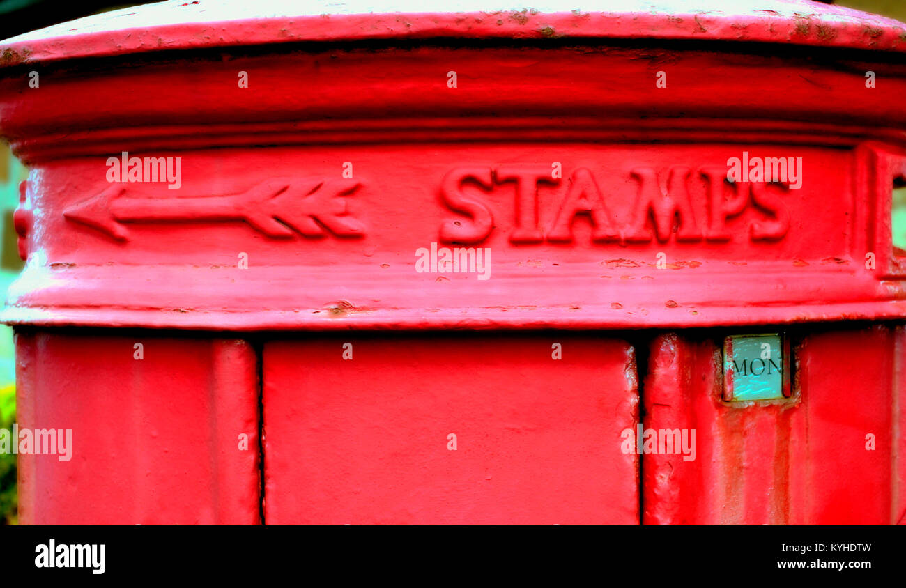 royal mail red postbox cast iron close up  mon Monday gr george Rothesay, United Kingdom - Stock Image