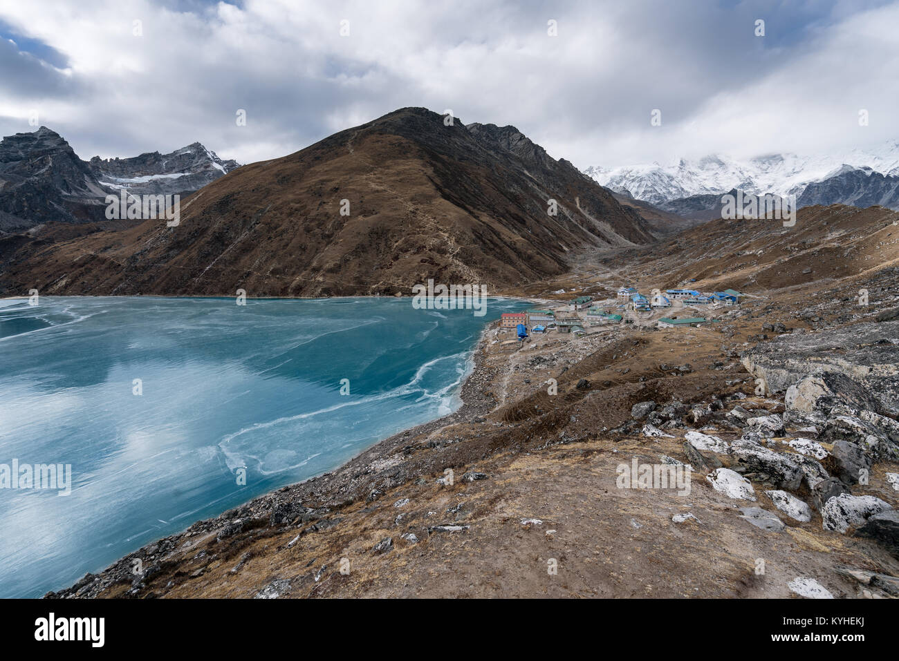 Gokyo village and lake along the three passes trek in Nepal - Stock Image