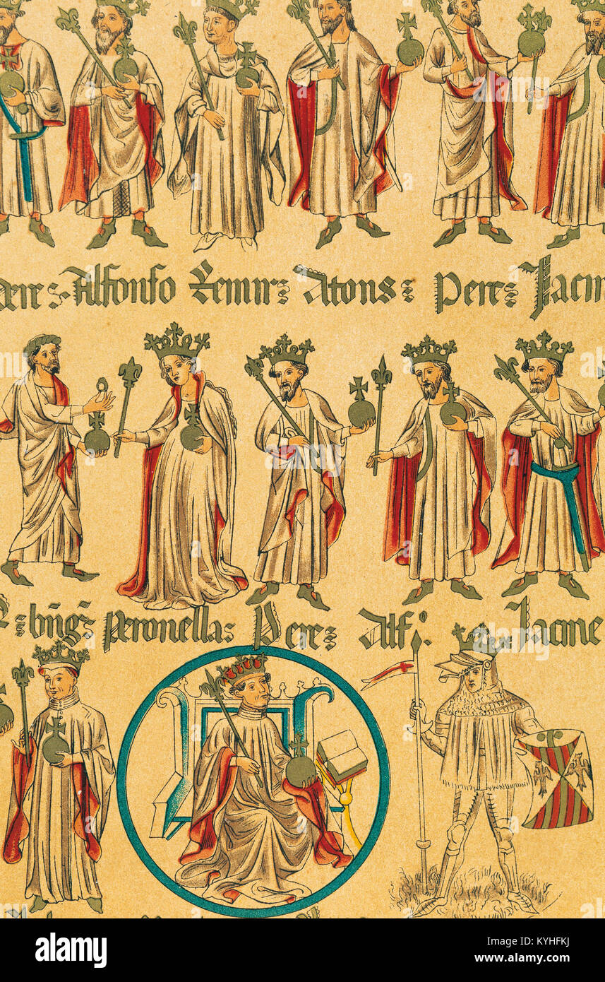 King of Aragon Martin I the Humane (1356-1410). On the Right, your son Martin I of Sicily (1376-1409). Copy of Genealogy - Stock Image