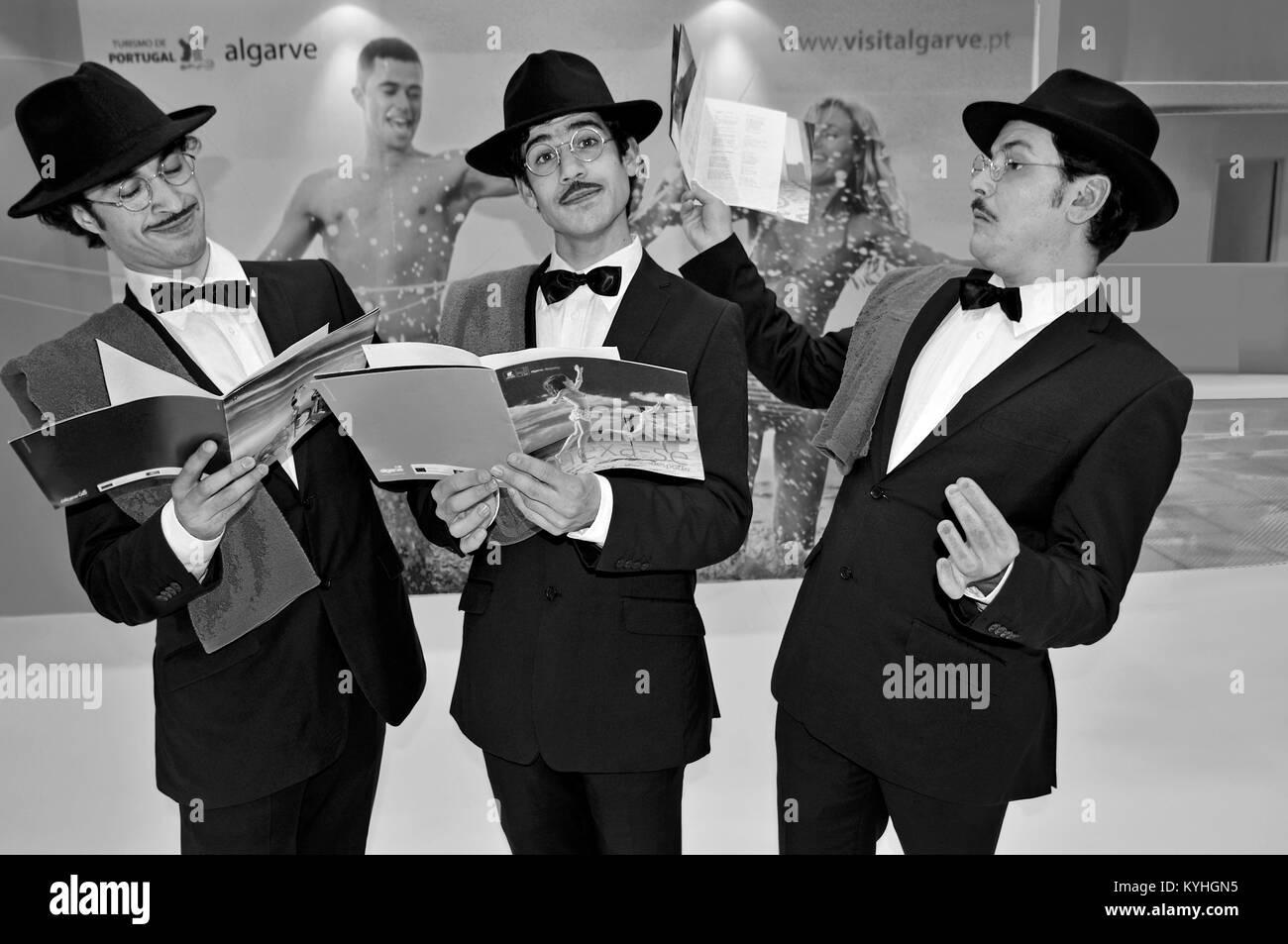 Three actors representing heteronyms of portuguese national poet Fernando Pessoa - Stock Image