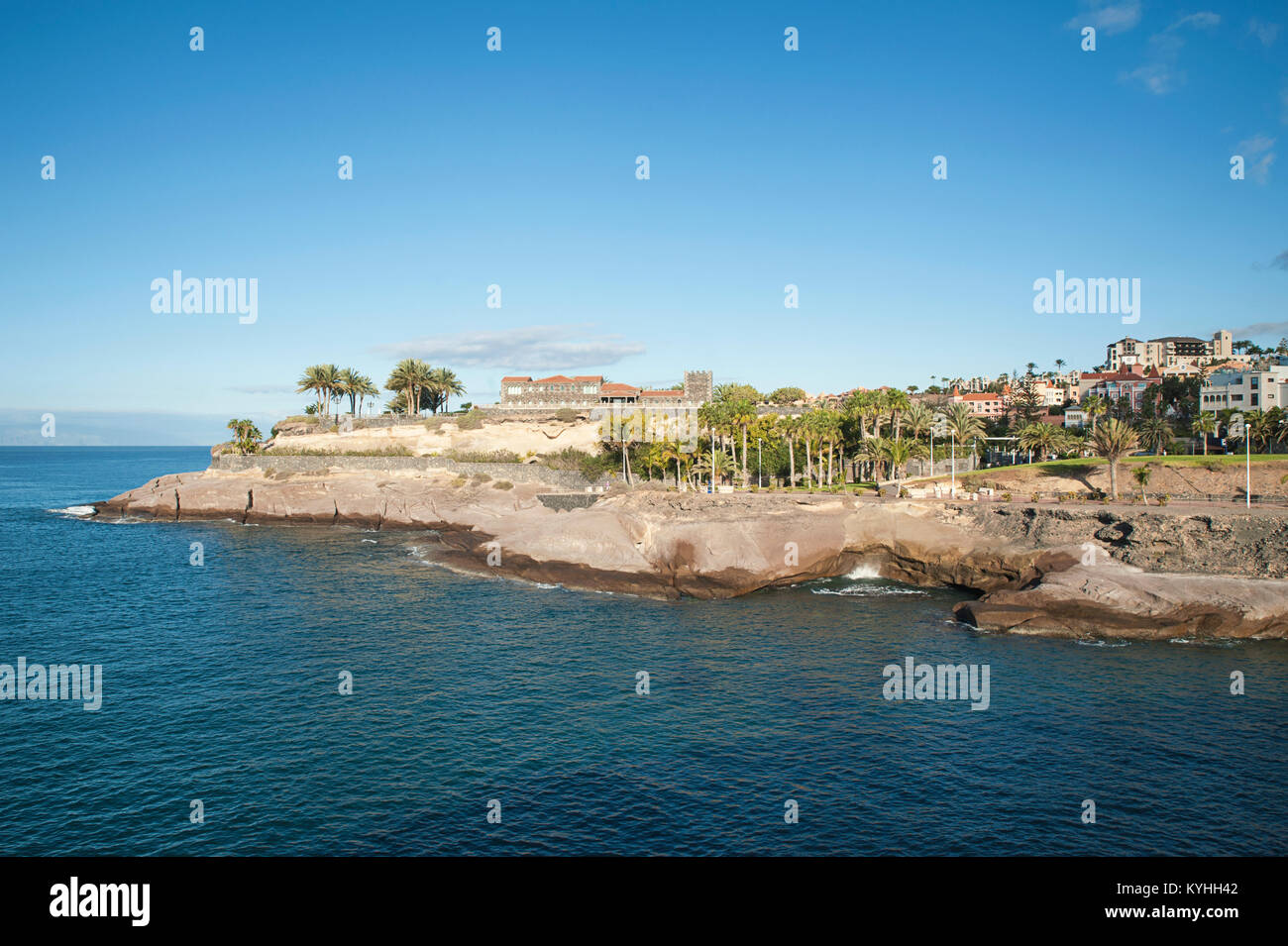 Fresh and clear sky, early morning, with views towards Casa del Duque and the popular resort of Costa Adeje, Tenerife, - Stock Image