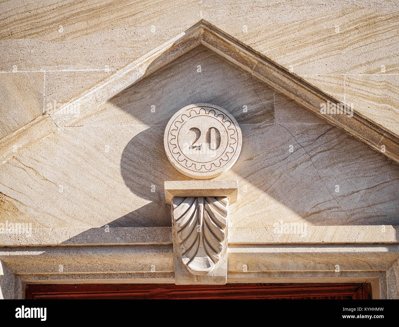 Oriental style stone house number in Baku old town - Stock Image