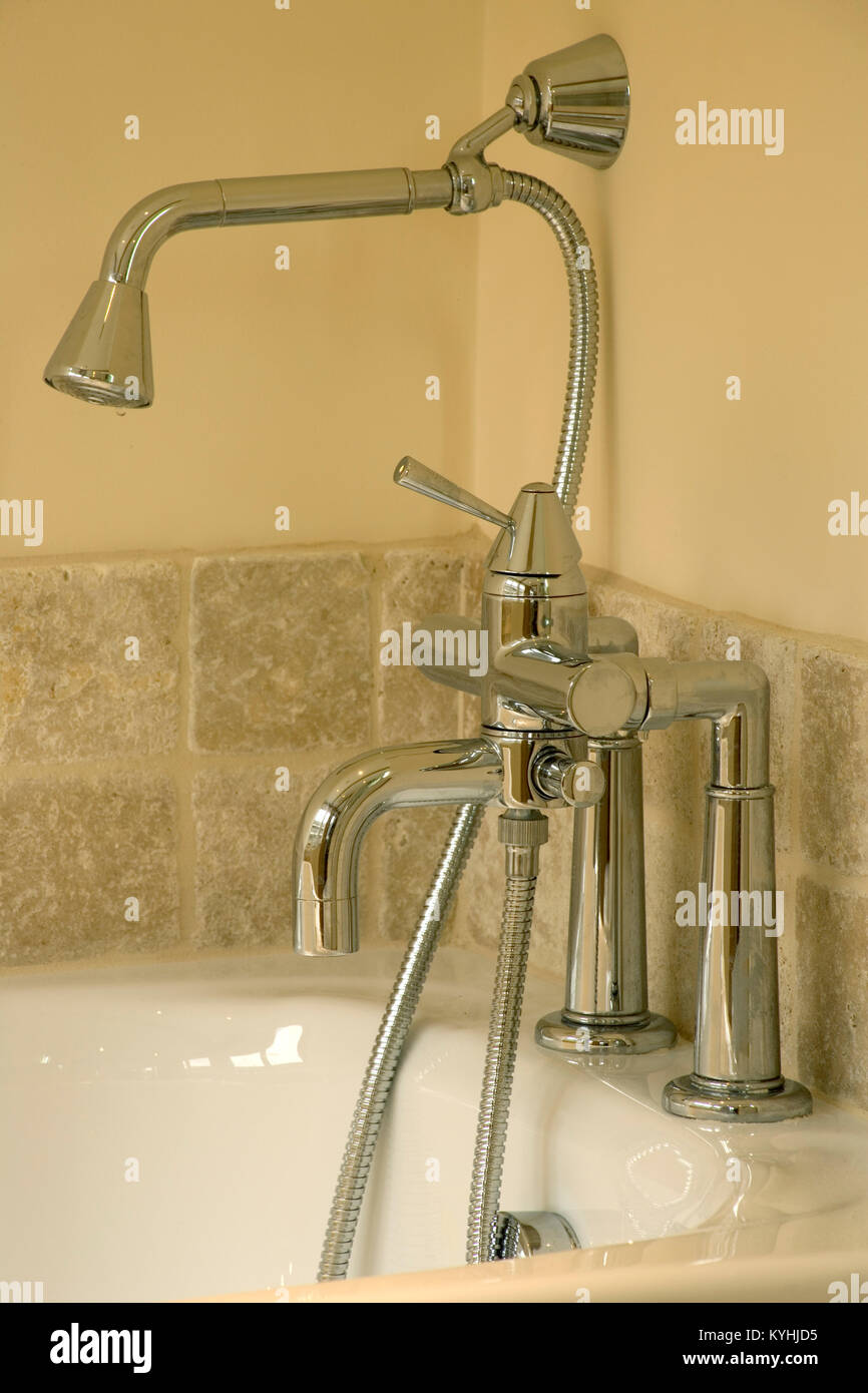Showhome bathroom, brand new bath taps and shower head Stock Photo ...