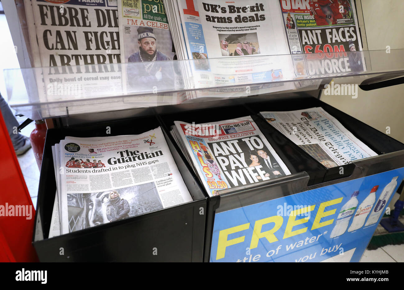 The Guardian on sale at a shop in London. The newspaper has unveiled its new tabloid look, with its publisher aiming Stock Photo